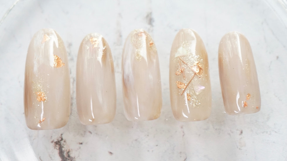 Press on Nail Marble and Gold Foil