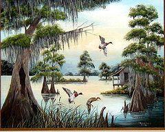 Louisiana Bayou Paintings - Peaceful Swa