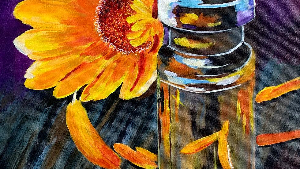 Acrylic Painting - Glass Jar and Sunflower