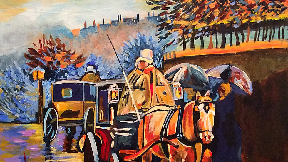 Acrylic Painting - Carriage in Paris