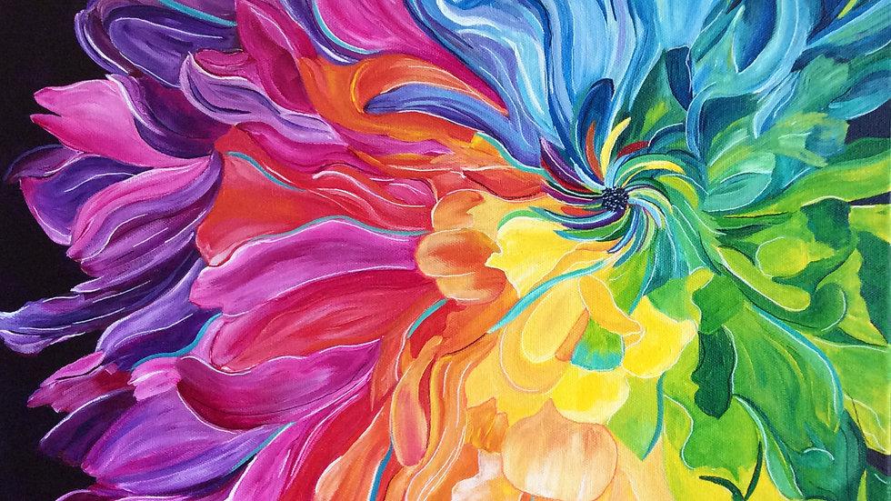 Acrylic Painting - Rainbow Chrysanthemum