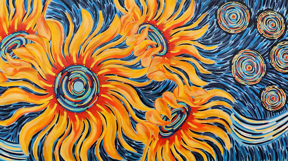 Acrylic Painting - Starry Night Sunflowers