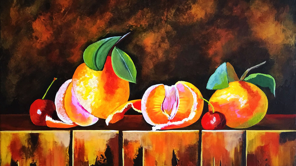 Acrylic Painting - Tangerines and Cherries