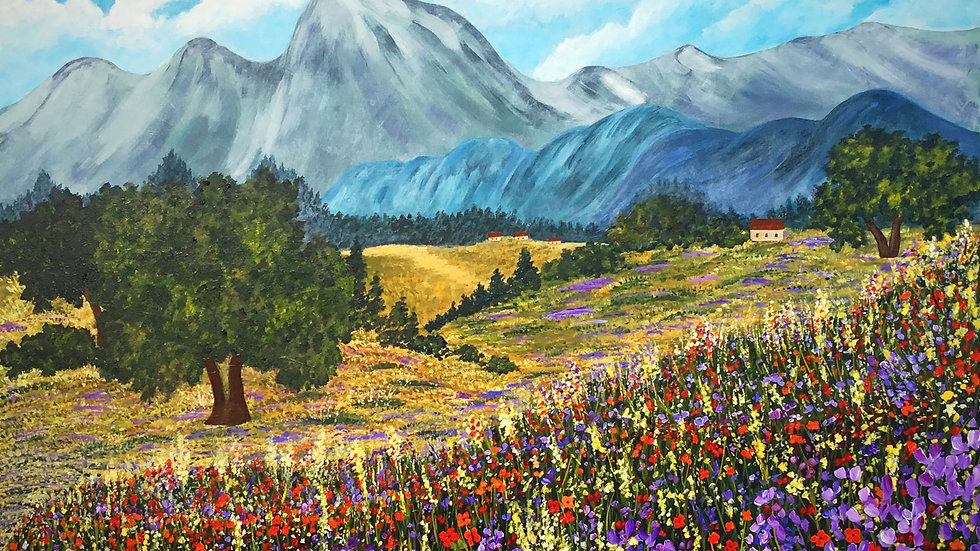 Acrylic Painting - A Dream of Wildflowers