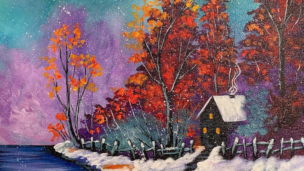 Acrylic Painting - Snow Autumn