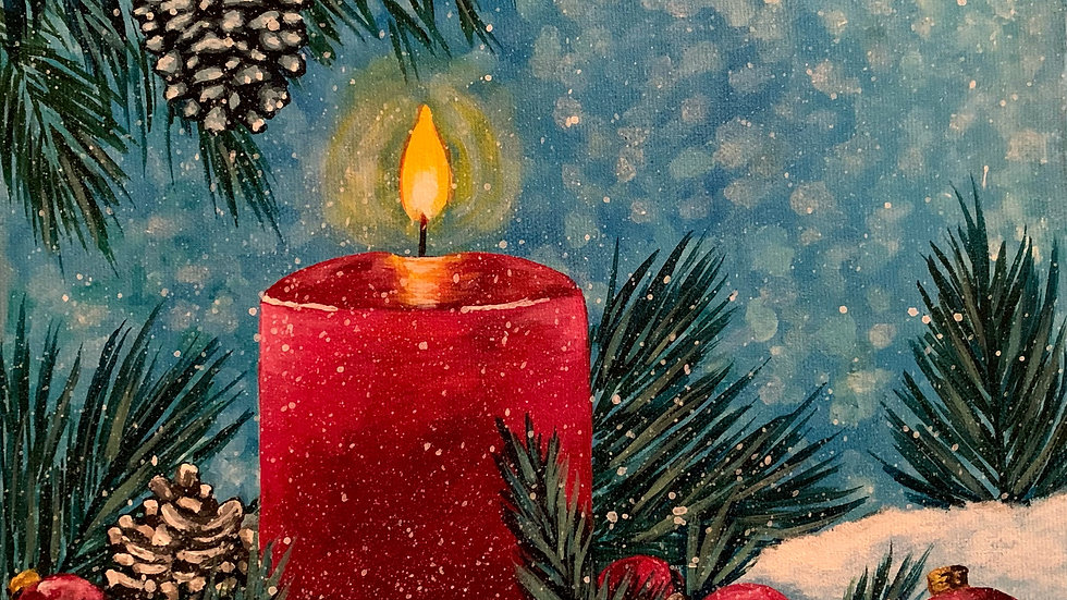 Acrylic Painting - Winter Candle in Snow
