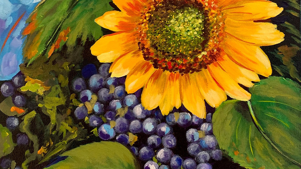 Acrylic Painting - Grapes with Sunflower