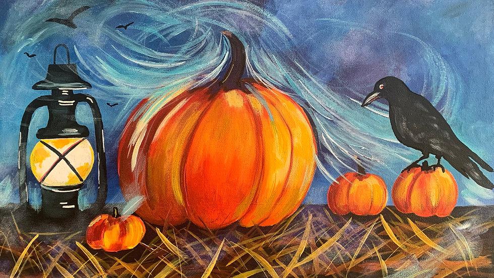 Acrylic Painting - Pumpkins with Lantern