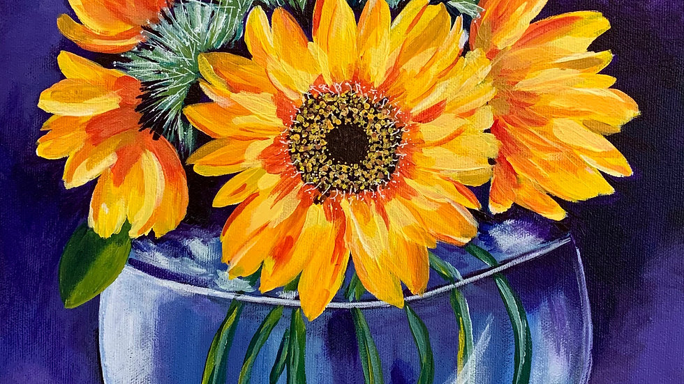 Acrylic Painting - Sunflowers in Glass Vase