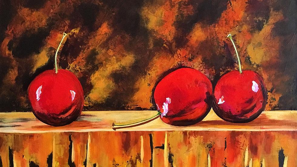 Acrylic Painting - Cherries