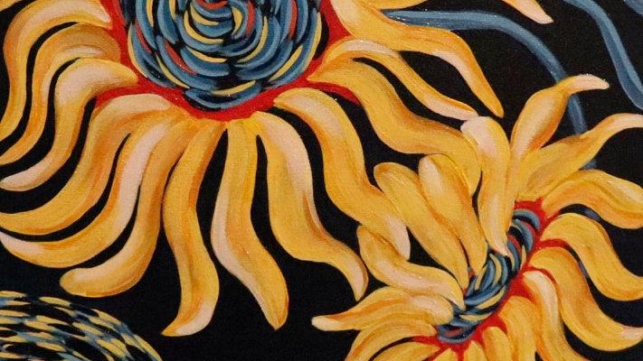 Acrylic Painting - Celestial Sunflowers