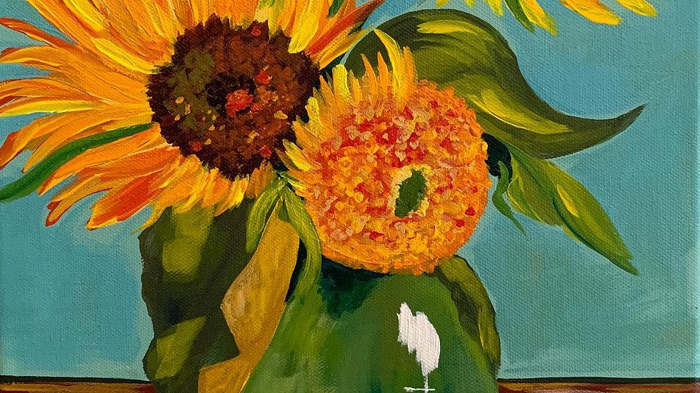Acrylic Painting - Van Gogh Style Sunflowers