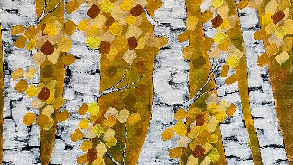 Acrylic Painting - Autumn Birches