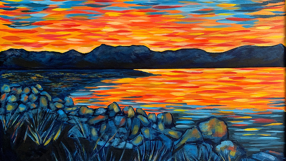 Acrylic Painting - Dusk at Whiffin Spit