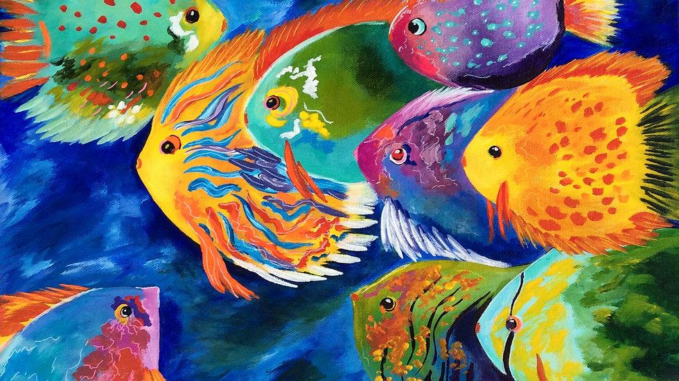 Acrylic Painting - Fashionista Fish