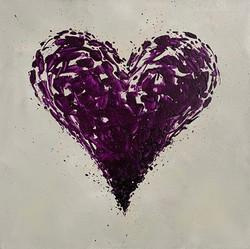 Mini Purple Heart, 12x12 inches, Sold