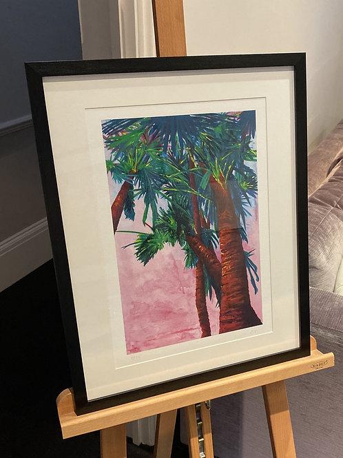 Framed A3 Sunset Palms Fine Art Print