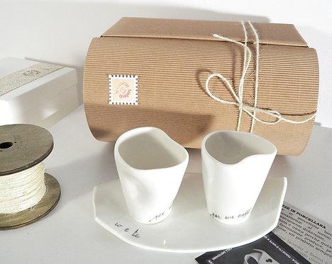 """servizio da caffè per due in porcellana """"io e te"""""""