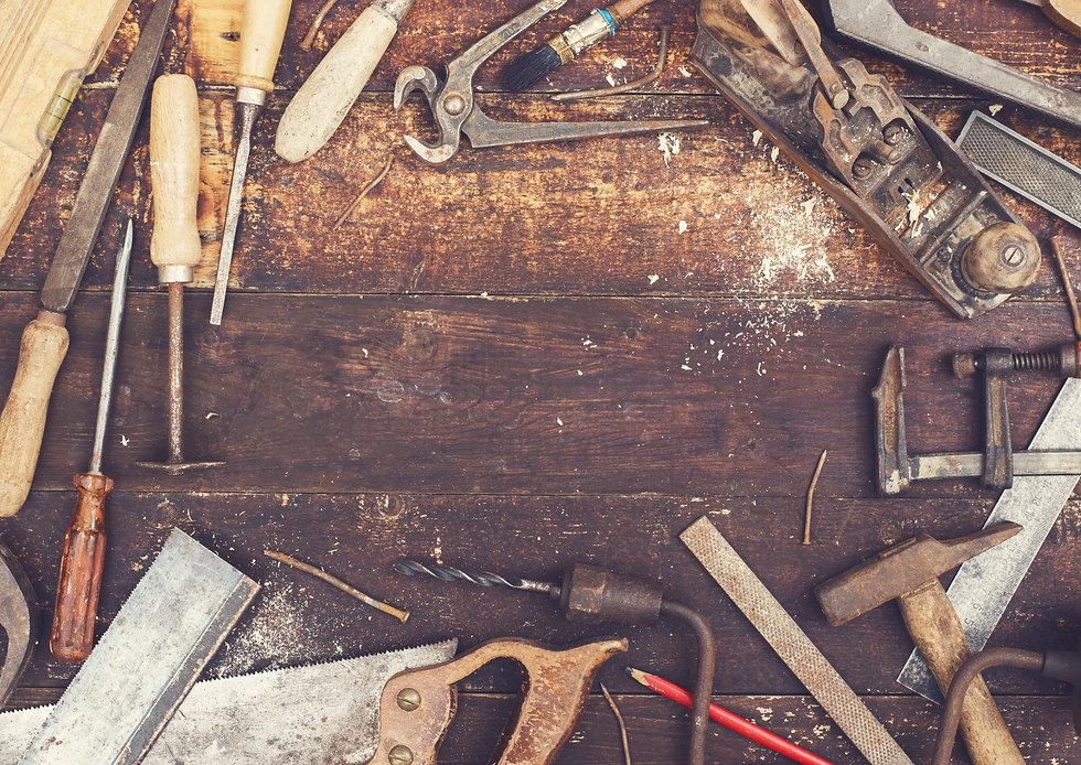 top view retro woodworking tools hero he