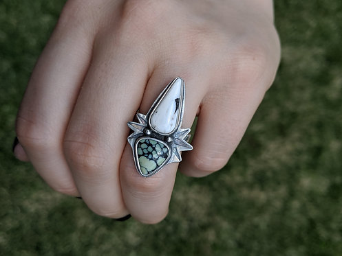 White Buffalo and Variscite Ring