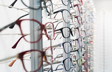 Row of luxury eyeglass at an opticians s