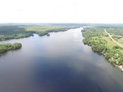 An aerial shot of Pike Lake facing south