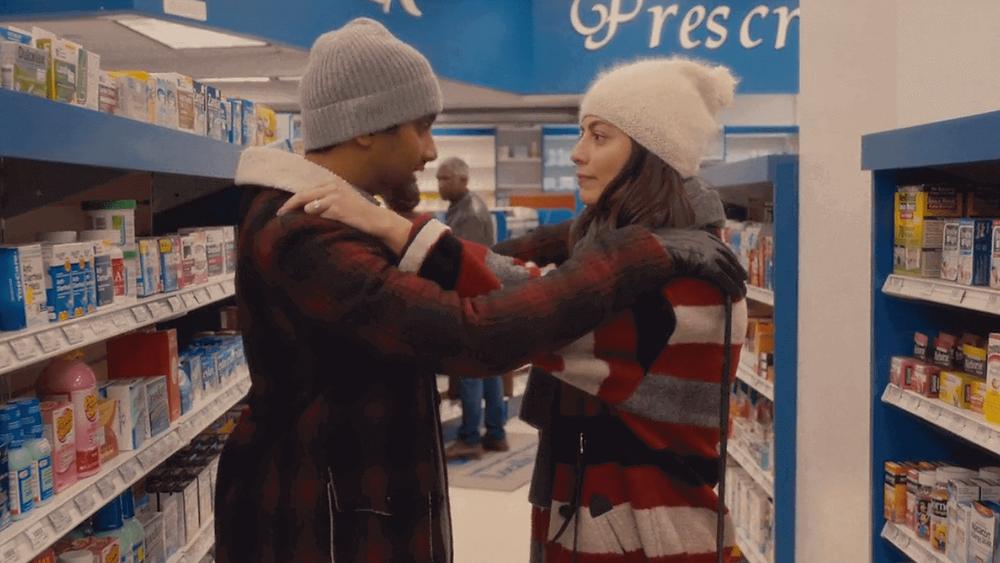"Master of None Alessandra Mastronardi as Francesca and Aziz Ansari as Dev at Pharmacy in Supermarket in Season 2 Episode 9 ""Amarsi Un Po'"" and also in Master of None Season 2 Finale"