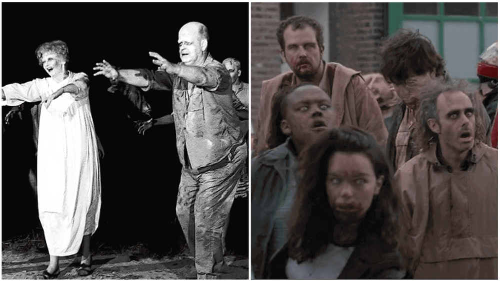 A collage consisting zombies of Night of the Living Dead and zombies in Shaun of the Dead.