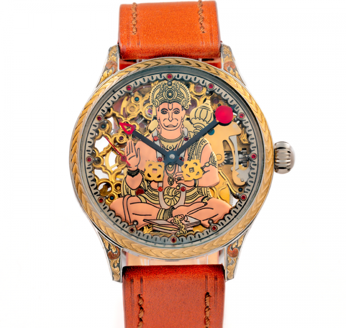 This one is a beautiful bespoke watch. The orange strap with Lord Hanuman Dial is just pleasing to the eyes.