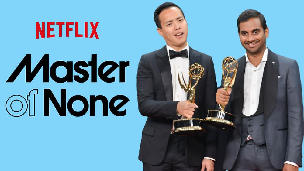 Aziz Ansari and Alan Yang creators of Master of None at Emmy Awards.