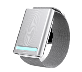 This is the Embr Wave by Embr Labs. It's basically a silver bracelet that cools you down on your pulse. In other words, bracelet that helps keep you warm or cool.