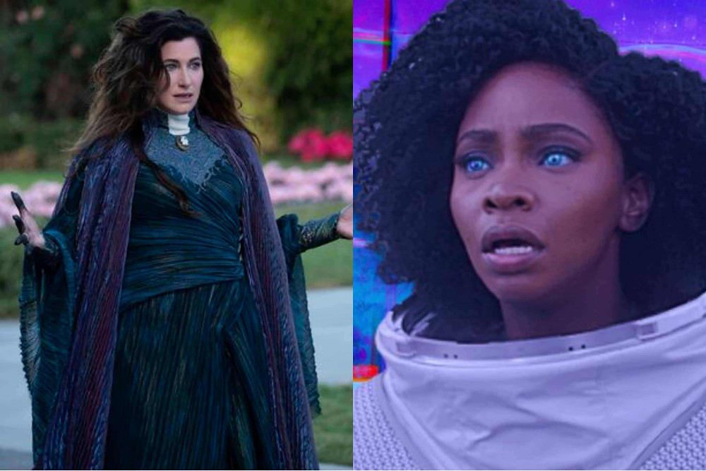 This is a collage of WandaVision's Agatha Harkness and Monica Rambeau.