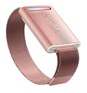 Embr Wave is available in different colours. This one is the Rose Gold version of Embr Wave. Embr Wave is a temperature-control bracelet.