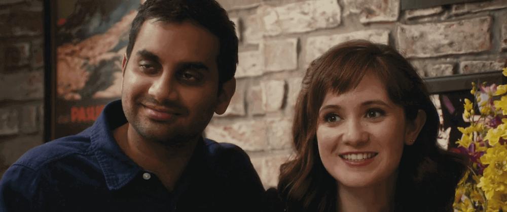 "Aziz Ansari's Dev and Noël Wells' Rachel in Master of None Season 1 Episode 9 ""Mornings"""