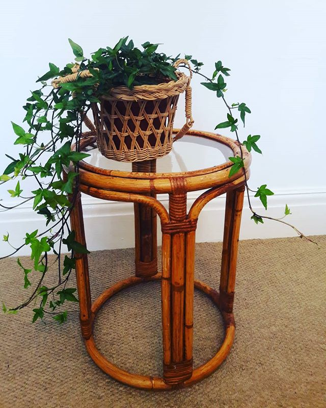 Vintage bamboo side table_£22