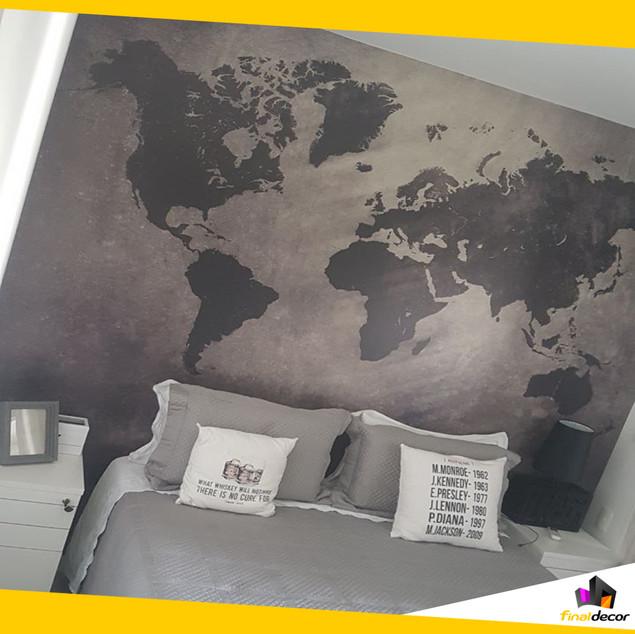 Papel de parede Mapa Mundi Cimento Queimado