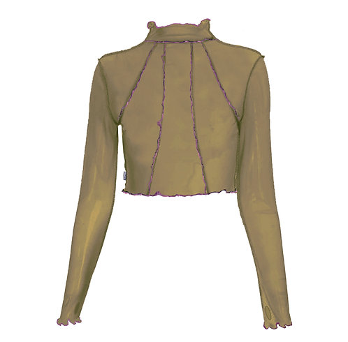 WAY HEM MESH TOP - Khaki