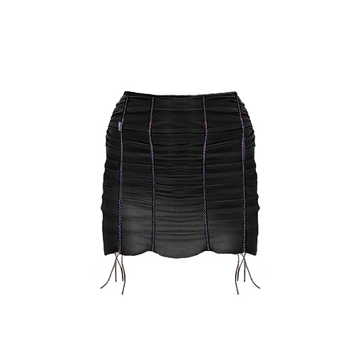 MESH RIBBON SKIRT - Black