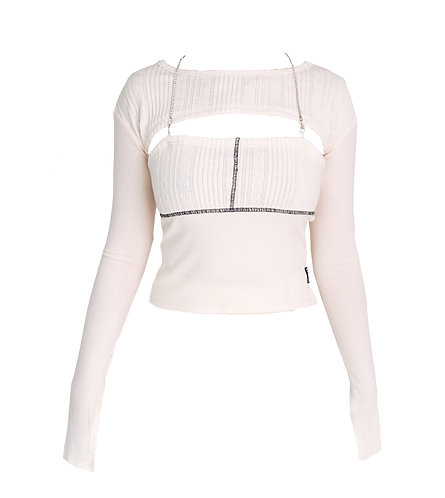 SPLIT CUT DIA KNIT TOP-IVORY restocking
