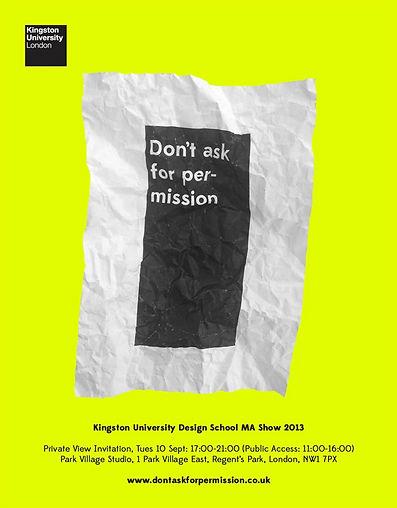 An Exhibition of Kingston University Design MA Show on 10th September, 17:00-21:00 (Public Access: 11:00-16:00) at Park Village Studio, 1 Park Village East, Regent's Park, NW1 7 PX