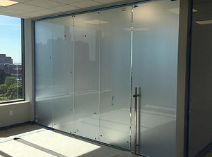 "Glass partitions with frosted 1/2"" glass"