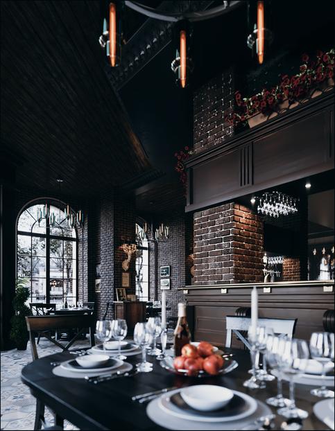 Interior design of the restaurant in Mariupol Ukraine