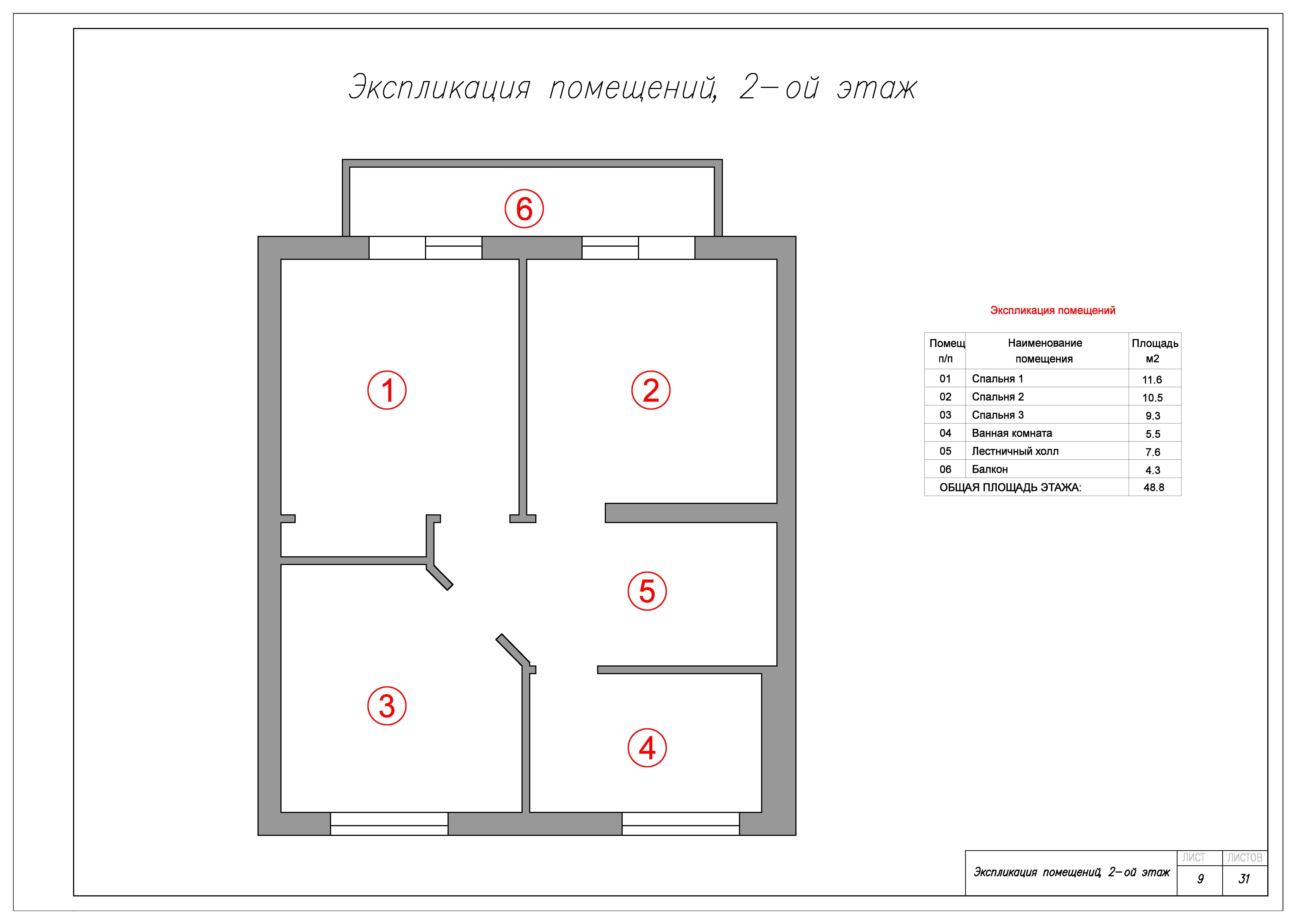 Экспликация помещений, 2 этаж