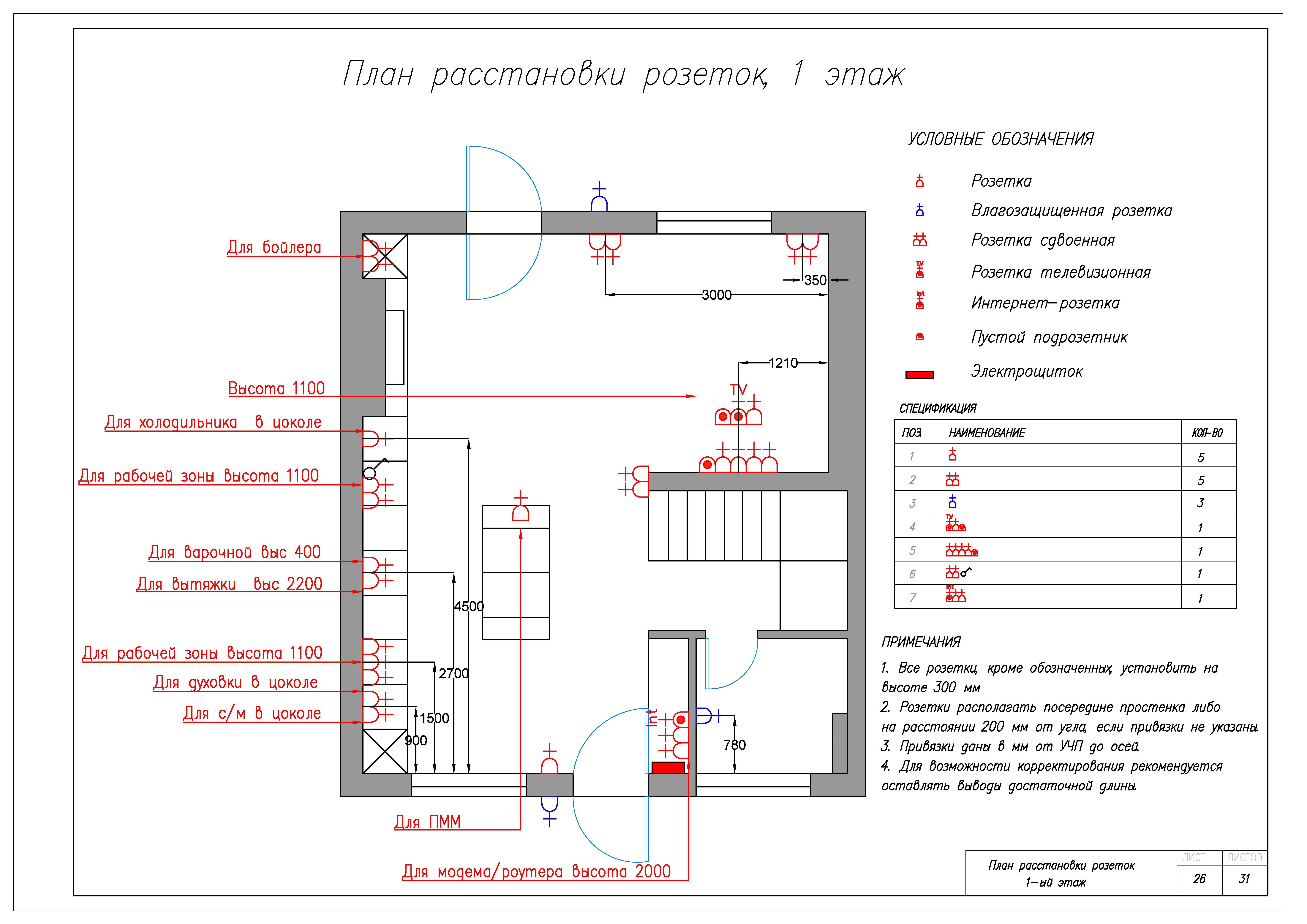 План расстановки розеток, 1 этаж