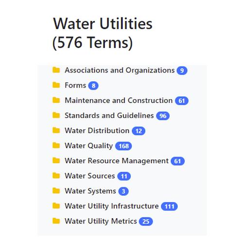 Water Utilities Taxonomy