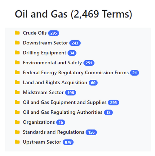 Oil and Gas Taxonomy