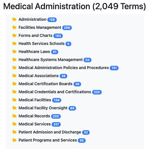 Medical Administration Taxonomy