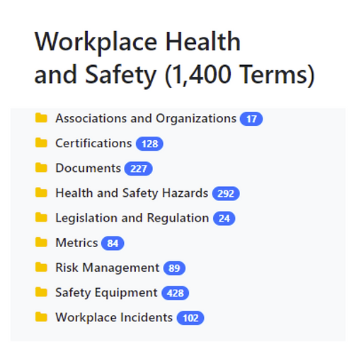 Workplace Health and Safety Taxonomy