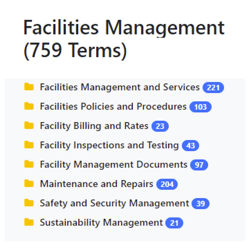 Facilities Management Taxonomy