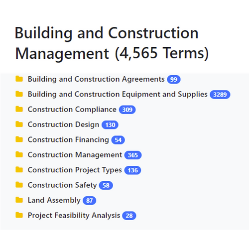 Building and Construction Management Taxonomy